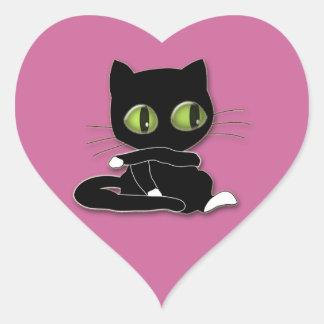 gato negro con los calcetines blancos pegatinas corazon