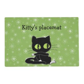 gato negro con los calcetines blancos salvamanteles