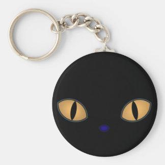 Gato negro con los ojos anaranjados grandes llavero redondo tipo pin