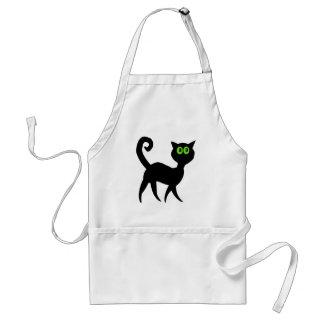 Gato negro con los ojos verdes delantal
