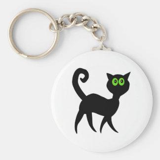 Gato negro con los ojos verdes llavero redondo tipo pin