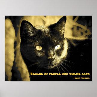 Gato negro con proverbio póster