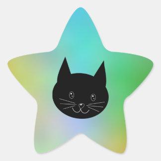 Gato negro con un fondo de los colores del arco i calcomanía forma de estrella personalizadas