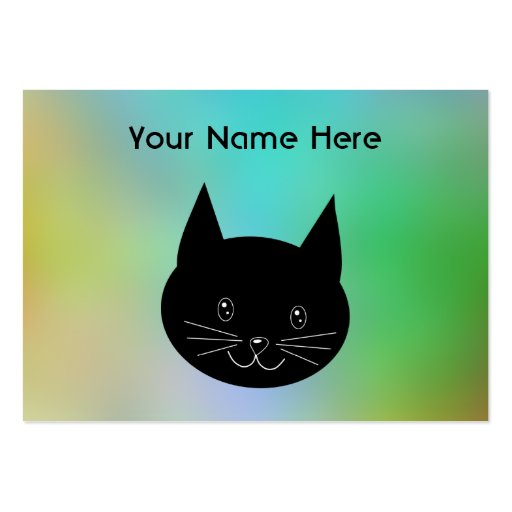 Gato negro, con un fondo de los colores del arco i tarjetas de negocios