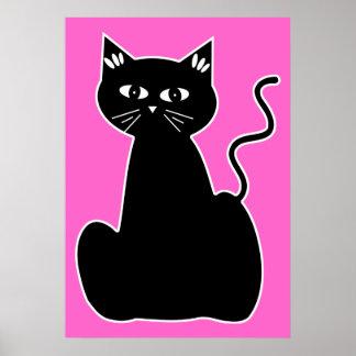 Gato negro contra un fondo de las rosas fuertes póster