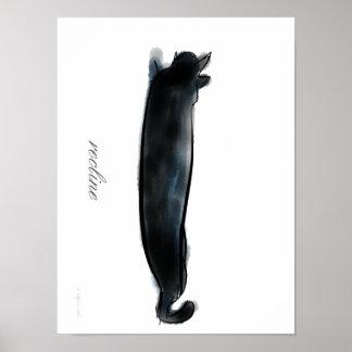 Gato negro de descanso póster