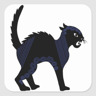 Gato negro de Halloween - 2 Colcomanias Cuadradas Personalizadas