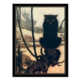 Gato negro de Halloween Arturo Rackham del vintage Postales