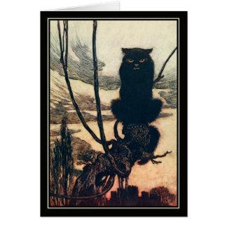 Gato negro de Halloween Arturo Rackham del vintage Tarjeta De Felicitación