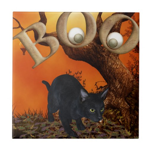 Gato negro de Halloween Azulejo Ceramica