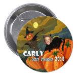Gato negro de Halloween Carly Fiorina Pin Redondo De 3 Pulgadas