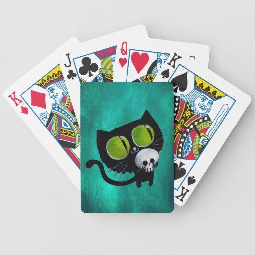 Gato negro de Halloween con el cráneo Baraja Cartas De Poker