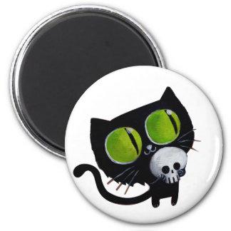 Gato negro de Halloween con el cráneo Imán Redondo 5 Cm