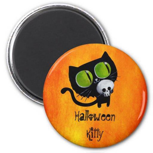 Gato negro de Halloween con el cráneo Imán De Frigorífico