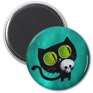 Gato negro de Halloween con el cráneo Iman