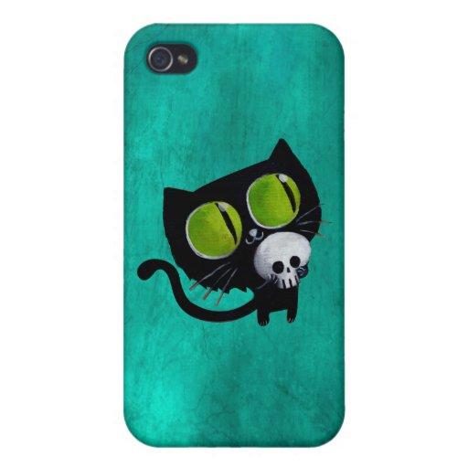 Gato negro de Halloween con el cráneo iPhone 4/4S Carcasas