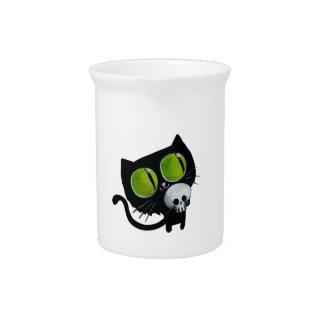 Gato negro de Halloween con el cráneo Jarrón