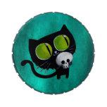 Gato negro de Halloween con el cráneo Frascos De Caramelos