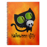 Gato negro de Halloween con el cráneo Libretas