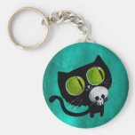 Gato negro de Halloween con el cráneo Llaveros Personalizados
