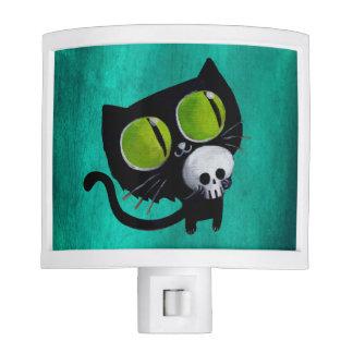Gato negro de Halloween con el cráneo Luz De Noche