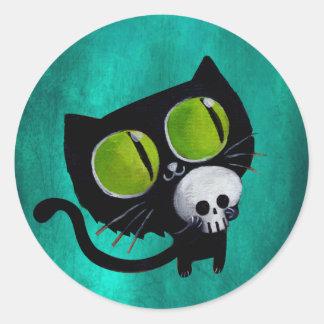 Gato negro de Halloween con el cráneo Pegatina