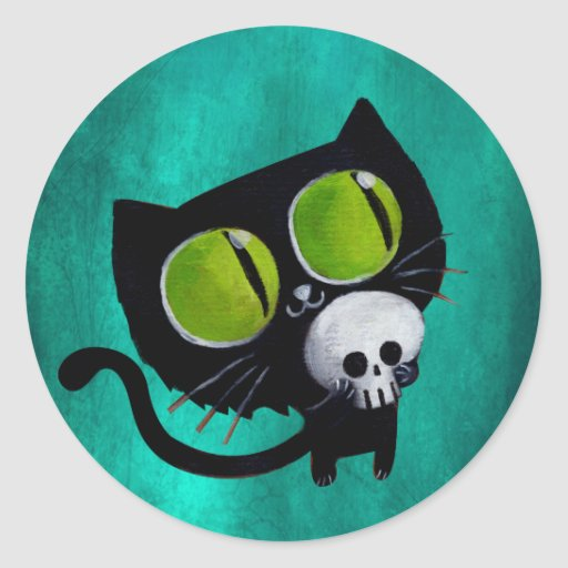Gato negro de Halloween con el cráneo Pegatina Redonda