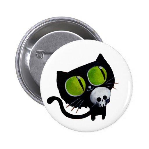 Gato negro de Halloween con el cráneo Pin
