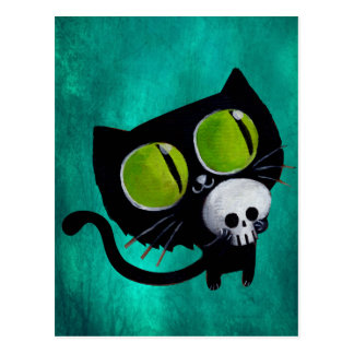 Gato negro de Halloween con el cráneo Postal