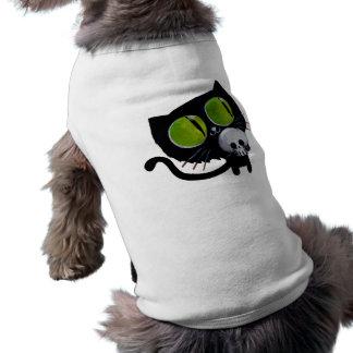Gato negro de Halloween con el cráneo Camisa De Mascota