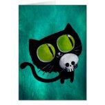 Gato negro de Halloween con el cráneo Tarjeta De Felicitación