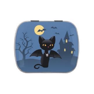 Gato negro de Halloween con las alas Jarrones De Dulces