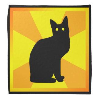 Gato negro de Halloween con los ojos que brillan Bandana