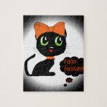 Gato negro de Halloween del animado Puzzles