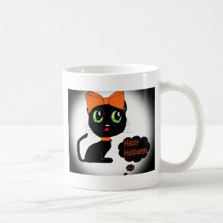 Gato negro de Halloween del animado Tazas