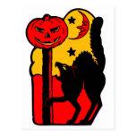 Gato negro de Halloween del kitsch retro del vinta Postales