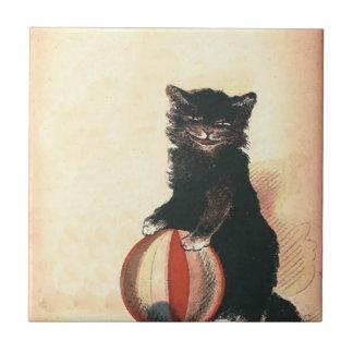 Gato negro de HALLOWEEN del vintage Azulejo Cuadrado Pequeño