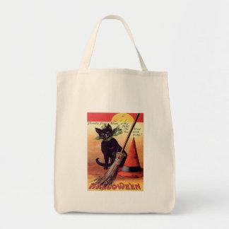Gato negro de Halloween del vintage Bolsas Lienzo