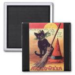 Gato negro de Halloween del vintage Imán De Nevera