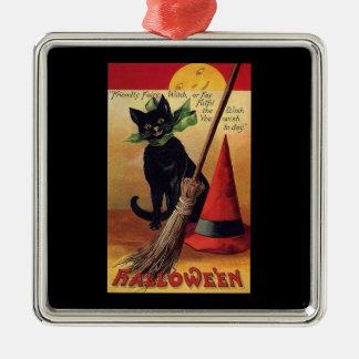 Gato negro de Halloween del vintage, la escoba de Adorno Cuadrado Plateado