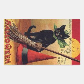 Gato negro de Halloween del vintage, la escoba de Pegatina Rectangular