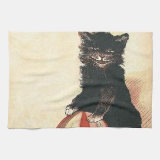 Gato negro de HALLOWEEN del vintage Toallas De Cocina