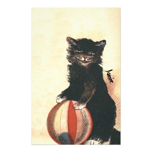 Gato negro de HALLOWEEN del vintage Papelería Personalizada