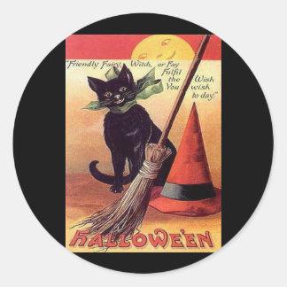 Gato negro de Halloween del vintage Pegatinas Redondas