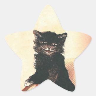 Gato negro de HALLOWEEN del vintage Calcomania Forma De Estrella Personalizada