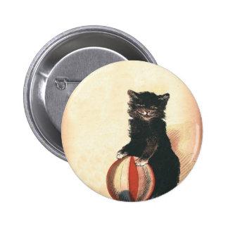 Gato negro de HALLOWEEN del vintage Pin Redondo 5 Cm