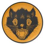 Gato negro de Halloween del vintage Plato