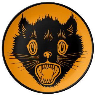 Gato negro de Halloween del vintage Plato De Cerámica