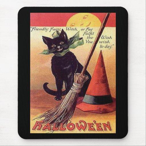Gato negro de Halloween del vintage Tapete De Ratones