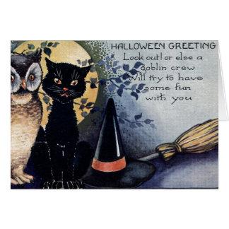 Gato negro de Halloween del vintage Tarjeta De Felicitación